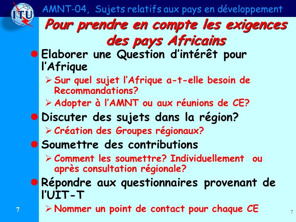 AMNT-04, Sujets relatifs aux pays en développement 7 7 Pour prendre en compte les exigences des pays Africains Elaborer une Question dintérêt pour lAfrique Sur quel sujet lAfrique a-t-elle besoin de Recommandations.