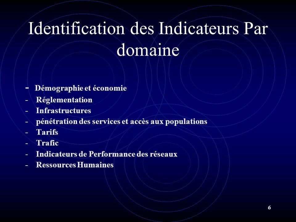6 Identification des Indicateurs Par domaine - Démographie et économie - Réglementation - Infrastructures - pénétration des services et accès aux popu