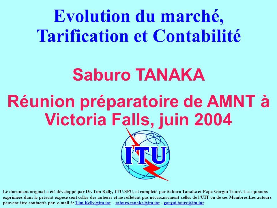 Evolution du marché, Tarification et Contabilité Saburo TANAKA Réunion préparatoire de AMNT à Victoria Falls, juin 2004 Le document original a été développé par Dr.