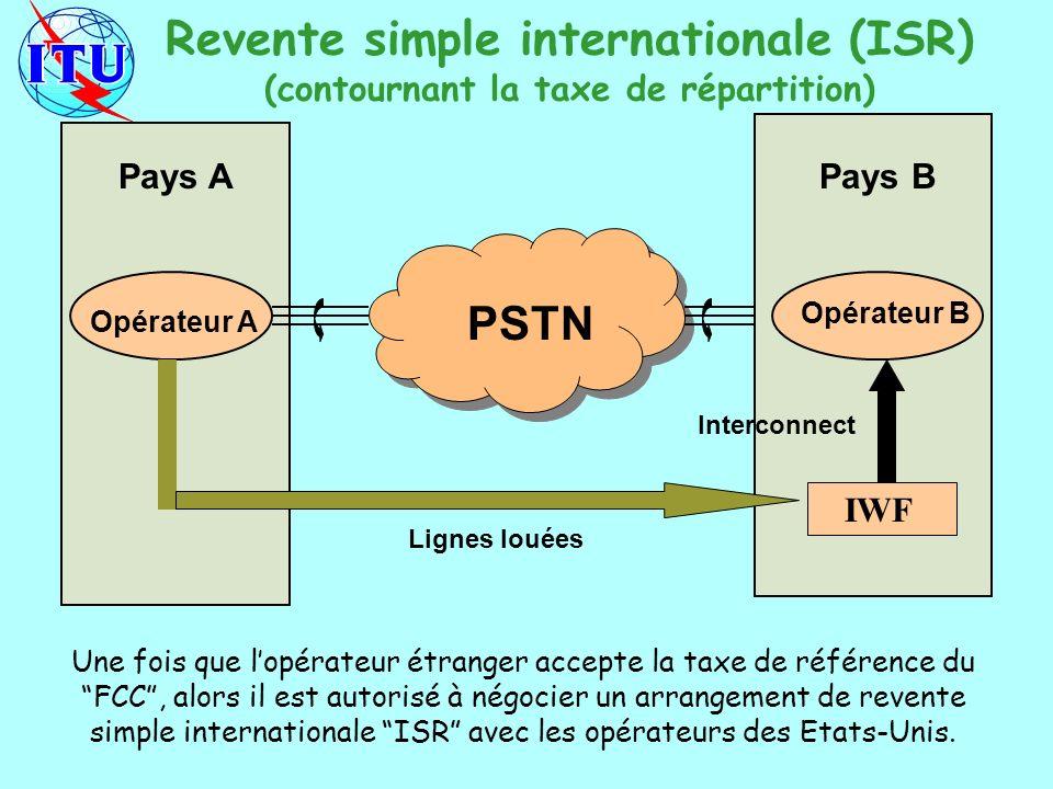 Pays APays B Opérateur A Opérateur B PSTN IWF Interconnect Lignes louées Revente simple internationale (ISR) (contournant la taxe de répartition) Une fois que lopérateur étranger accepte la taxe de référence du FCC, alors il est autorisé à négocier un arrangement de revente simple internationale ISR avec les opérateurs des Etats-Unis.