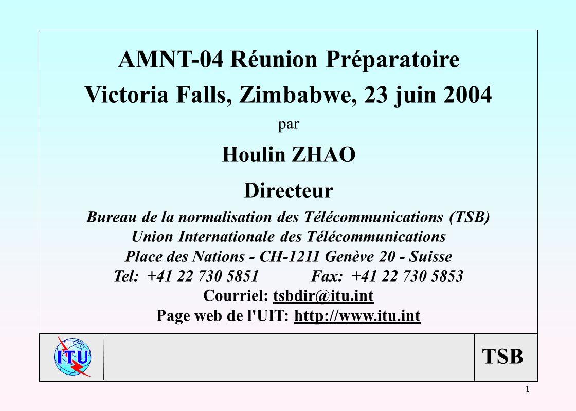 TSB 1 AMNT-04 Réunion Préparatoire Victoria Falls, Zimbabwe, 23 juin 2004 par Houlin ZHAO Directeur Bureau de la normalisation des Télécommunications (TSB) Union Internationale des Télécommunications Place des Nations - CH-1211 Genève 20 - Suisse Tel: +41 22 730 5851Fax: +41 22 730 5853 Courriel: tsbdir@itu.inttsbdir@itu.int Page web de l UIT: http://www.itu.inthttp://www.itu.int
