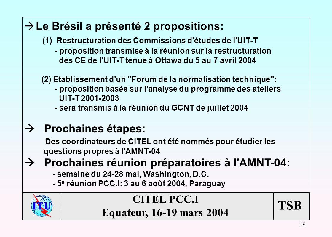 TSB 19 CITEL PCC.I Equateur, 16-19 mars 2004 à Le Brésil a présenté 2 propositions: (1) Restructuration des Commissions d études de l UIT-T - proposition transmise à la réunion sur la restructuration des CE de l UIT-T tenue à Ottawa du 5 au 7 avril 2004 (2) Etablissement d un Forum de la normalisation technique : - proposition basée sur l analyse du programme des ateliers UIT-T 2001-2003 - sera transmis à la réunion du GCNT de juillet 2004 Prochaines étapes: Des coordinateurs de CITEL ont été nommés pour étudier les questions propres à l AMNT-04 Prochaines réunion préparatoires à l AMNT-04: - semaine du 24-28 mai, Washington, D.C.