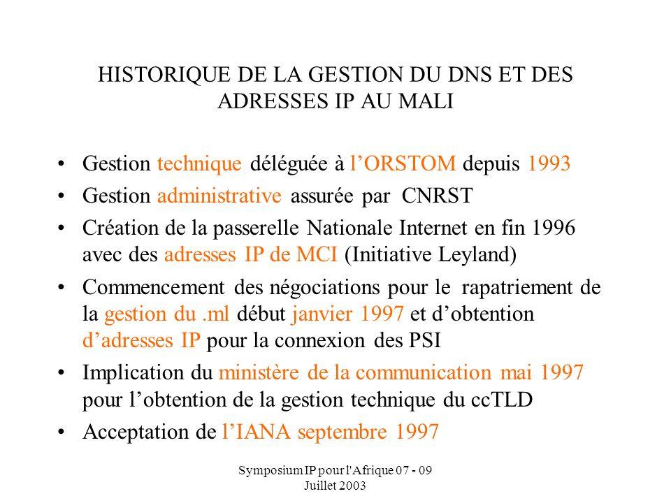 Symposium IP pour l'Afrique 07 - 09 Juillet 2003 Dr Alioune B. Traor é : Directeur Informatique et Nouvelles Technologies HISTORIQUE DE LA GESTION DU