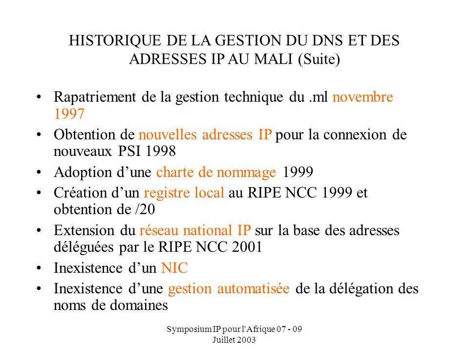 Symposium IP pour l'Afrique 07 - 09 Juillet 2003 HISTORIQUE DE LA GESTION DU DNS ET DES ADRESSES IP AU MALI Gestion technique déléguée à lORSTOM depui