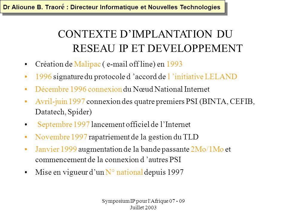 Symposium IP pour l'Afrique 07 - 09 Juillet 2003 Plan de l exposé I.CONTEXTE DIMPLANTATION DU RESEAU IP II.GENERALITE SUR LE DNS ET LES ADRESSES IP II