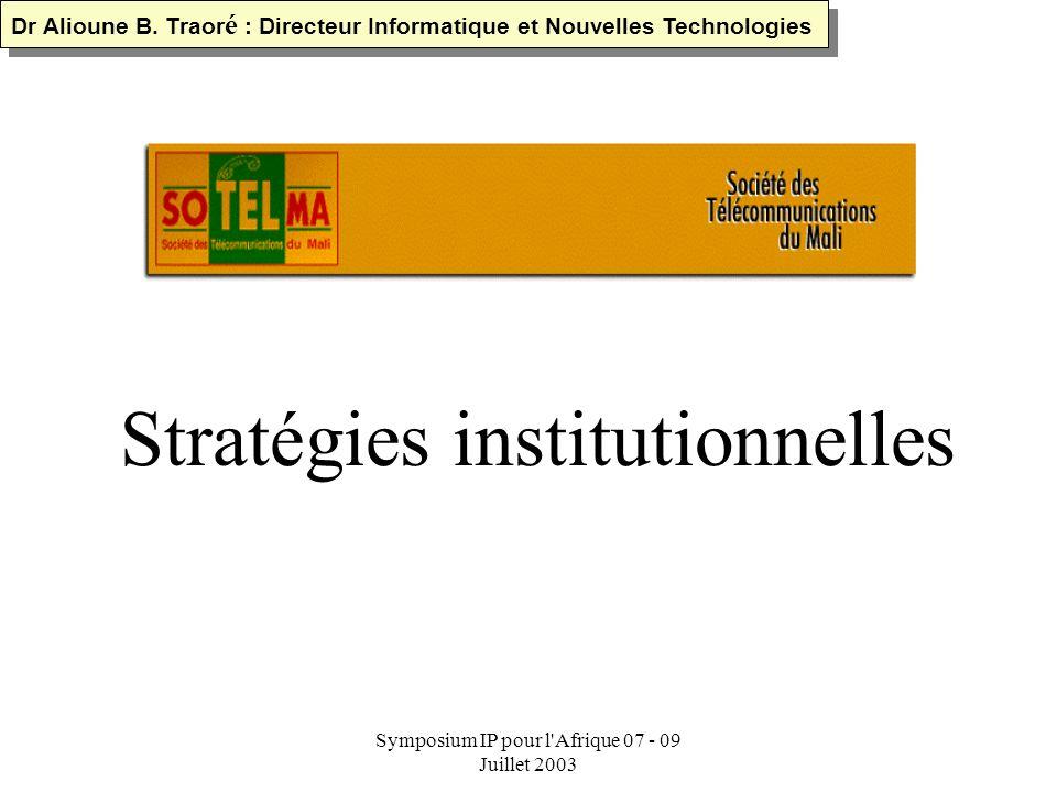 Symposium IP pour l'Afrique 07 - 09 Juillet 2003 TYPES DE CONNEXIONS (RTC) Réseau téléphonique commuté Liaison spécialisée vers Internet Modem de luti