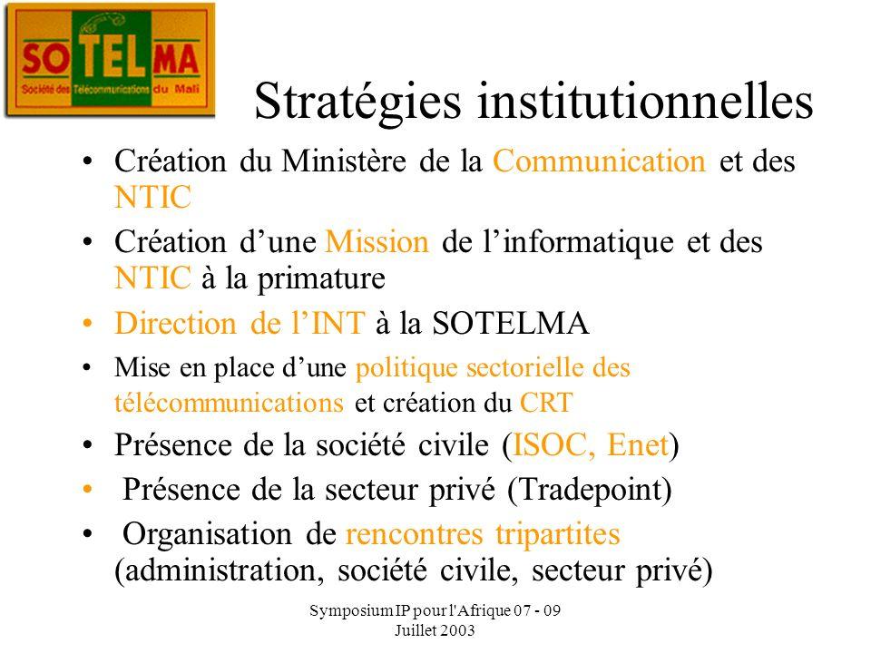 Symposium IP pour l'Afrique 07 - 09 Juillet 2003 Dr Alioune B. Traor é : Chef Services NTIC Stratégies institutionnelles Dr Alioune B. Traor é : Direc