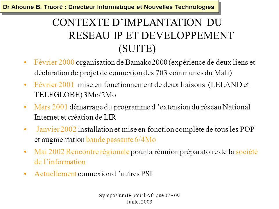 Symposium IP pour l'Afrique 07 - 09 Juillet 2003 CONTEXTE DIMPLANTATION DU RESEAU IP ET DEVELOPPEMENT Création de Malipac ( e-mail off line) en 1993 1