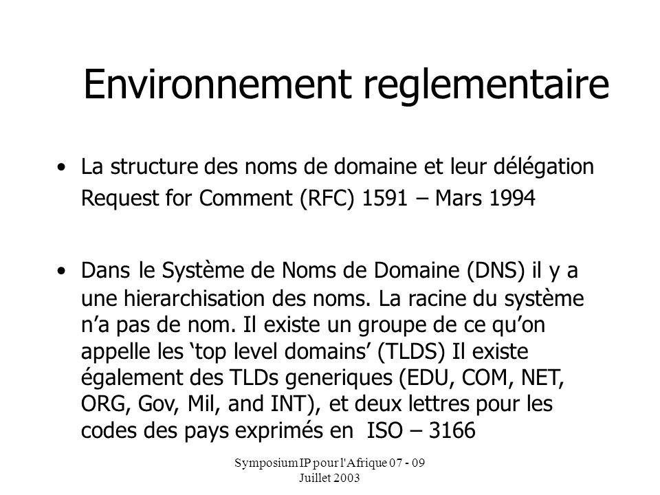 Symposium IP pour l'Afrique 07 - 09 Juillet 2003 Dr Alioune B. Traor é : Directeur Informatique et Nouvelles Technologies GENERALITE SUR LE DNS