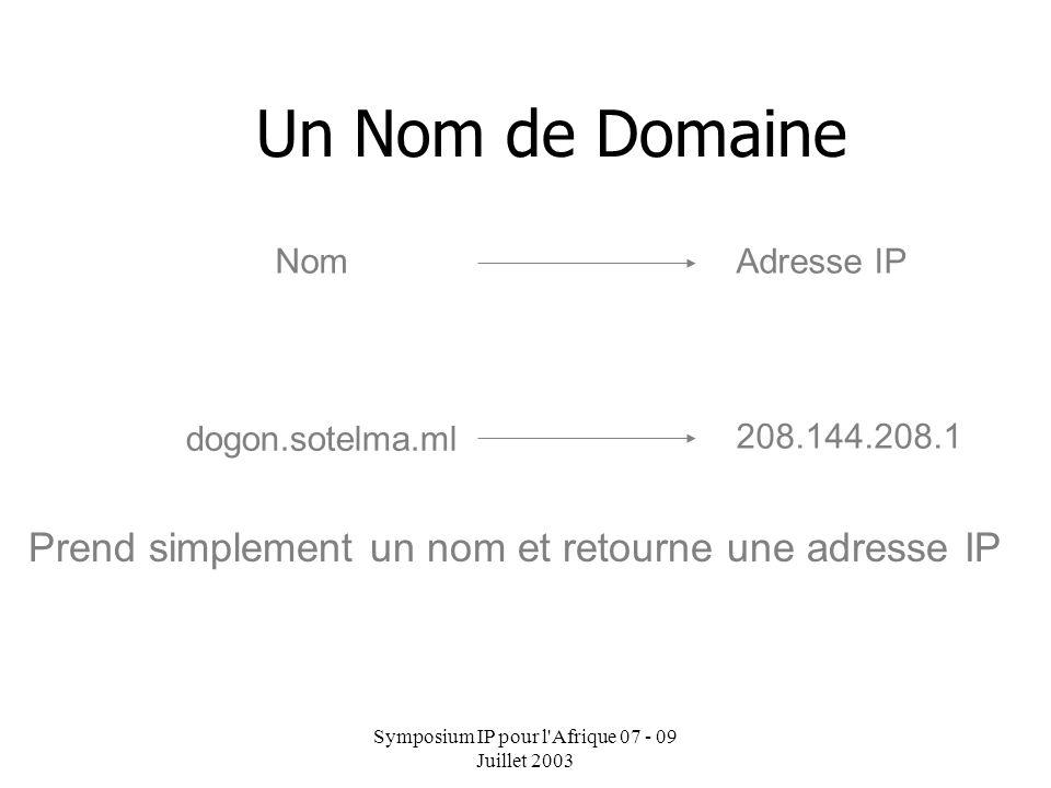 Symposium IP pour l Afrique 07 - 09 Juillet 2003 Environnement reglementaire La structure des noms de domaine et leur délégation Request for Comment (RFC) 1591 – Mars 1994 Dans le Système de Noms de Domaine (DNS) il y a une hierarchisation des noms.