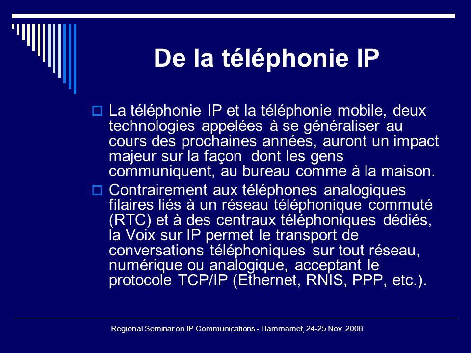 Regional Seminar on IP Communications - Hammamet, 24-25 Nov. 2008 Communication Unifiée (suite)