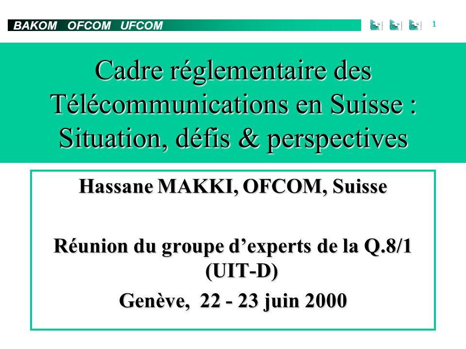 BAKOM OFCOM UFCOM 1 Hassane MAKKI, OFCOM, Suisse Réunion du groupe dexperts de la Q.8/1 (UIT-D) Genève, 22 - 23 juin 2000 Cadre réglementaire des Télécommunications en Suisse : Situation, défis & perspectives
