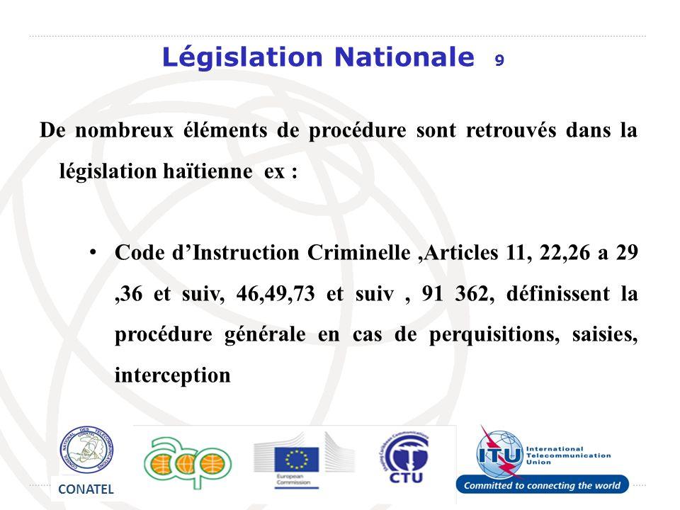 Législation Nationale 9 De nombreux éléments de procédure sont retrouvés dans la législation haïtienne ex : Code dInstruction Criminelle,Articles 11,