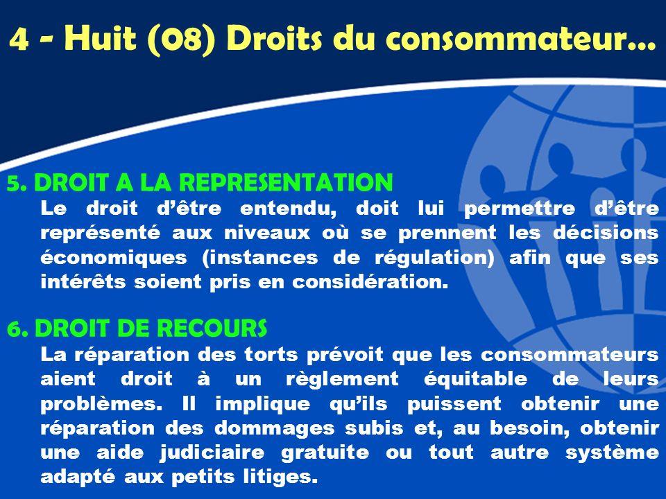 5. DROIT A LA REPRESENTATION Le droit dêtre entendu, doit lui permettre dêtre représenté aux niveaux où se prennent les décisions économiques (instanc