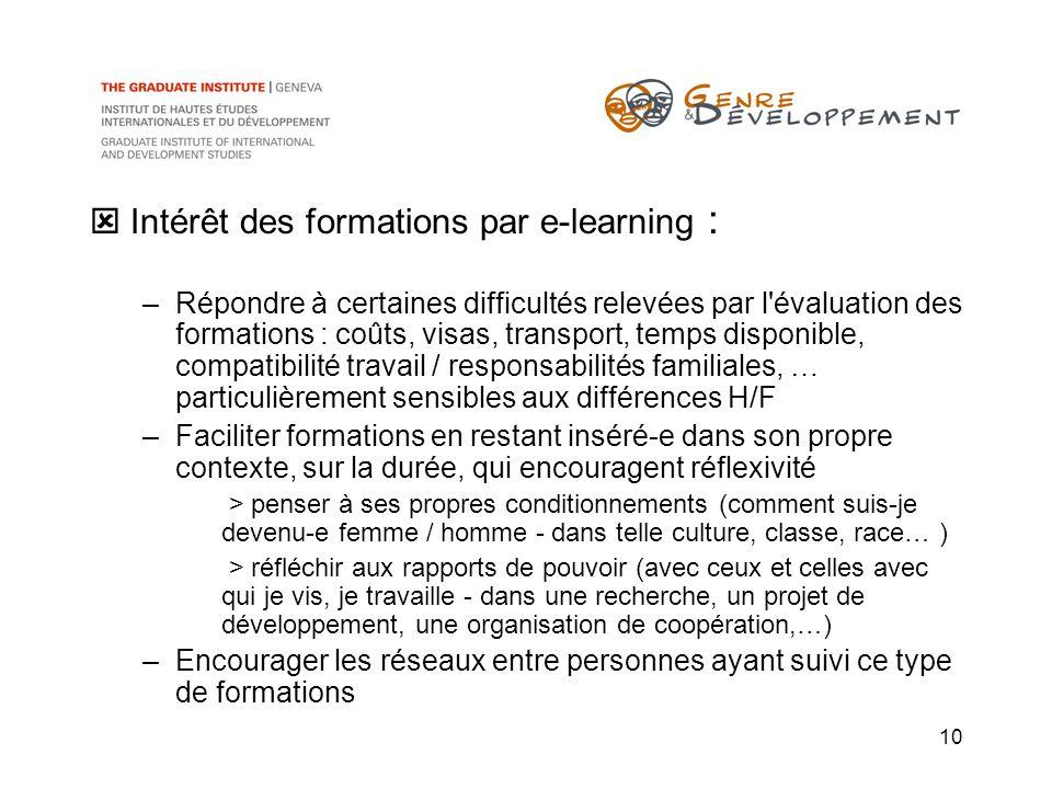 10 Intérêt des formations par e-learning : –Répondre à certaines difficultés relevées par l'évaluation des formations : coûts, visas, transport, temps