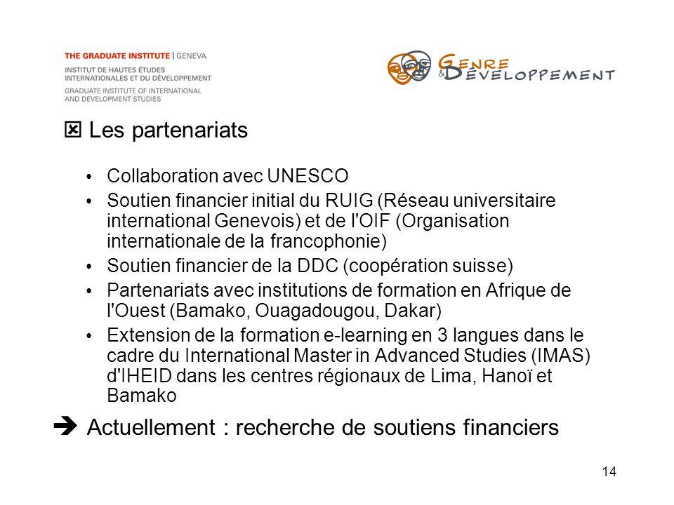 14 Collaboration avec UNESCO Soutien financier initial du RUIG (Réseau universitaire international Genevois) et de l'OIF (Organisation internationale