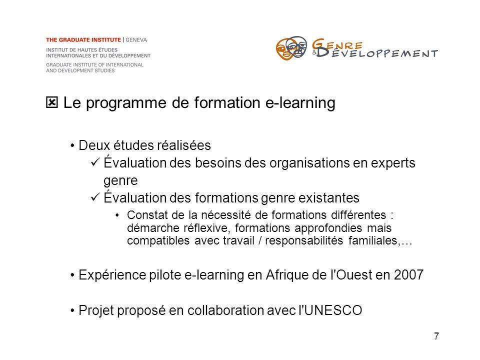 7 Le programme de formation e-learning Deux études réalisées Évaluation des besoins des organisations en experts genre Évaluation des formations genre