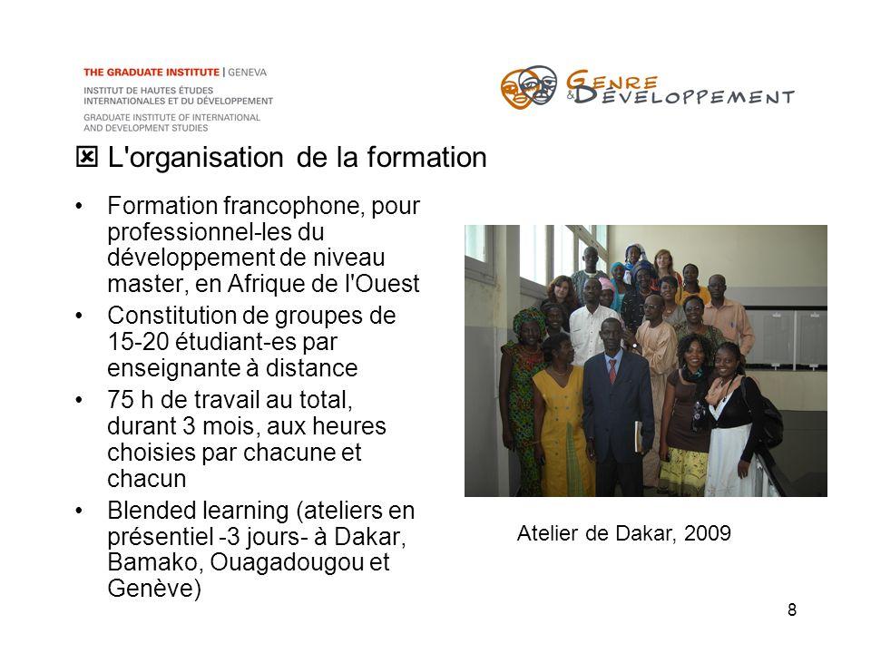 8 L'organisation de la formation Formation francophone, pour professionnel-les du développement de niveau master, en Afrique de l'Ouest Constitution d
