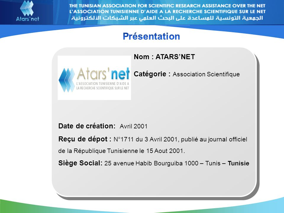 Date de création: Avril 2001 Reçu de dépot : N°1711 du 3 Avril 2001, publié au journal officiel de la République Tunisienne le 15 Aout 2001.