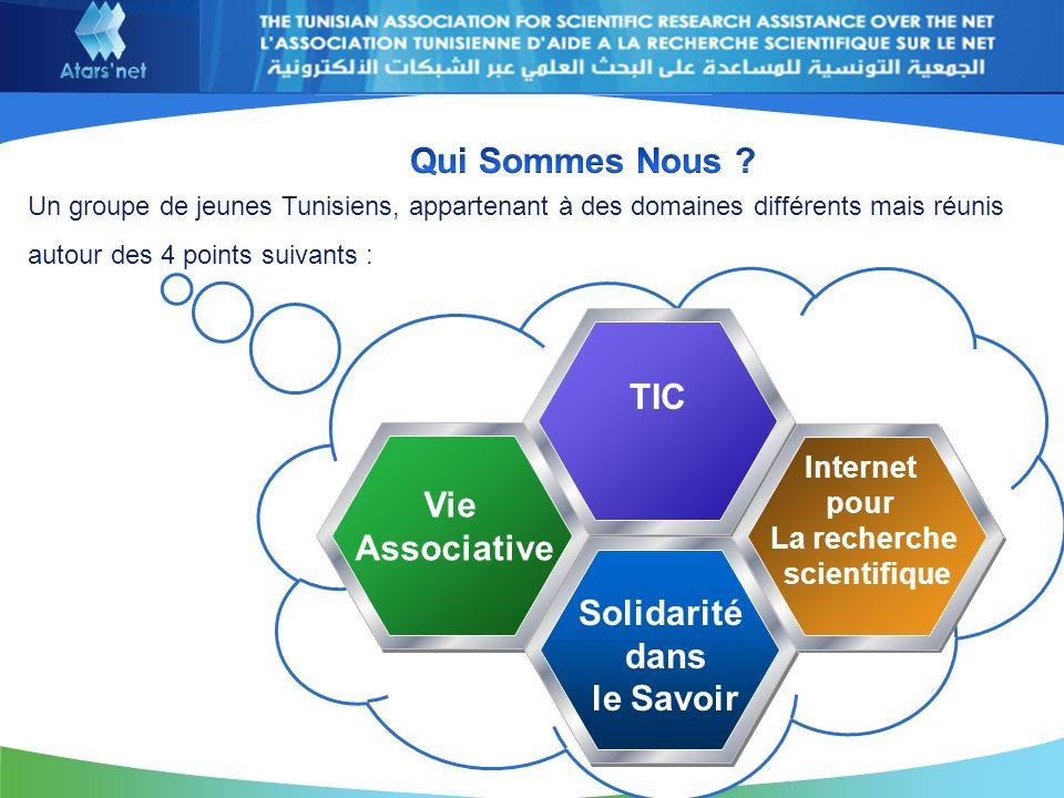 TIC Vie Associative Internet pour La recherche scientifique Solidarité dans le Savoir Un groupe de jeunes Tunisiens, appartenant à des domaines différents mais réunis autour des 4 points suivants :
