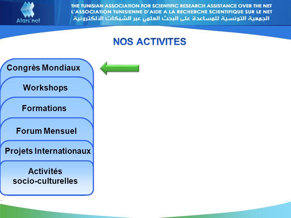 Congrès Mondiaux Workshops Formations Forum Mensuel Projets Internationaux Activités socio-culturelles.