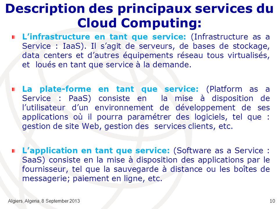 Description des principaux services du Cloud Computing: Linfrastructure en tant que service: (Infrastructure as a Service : IaaS).