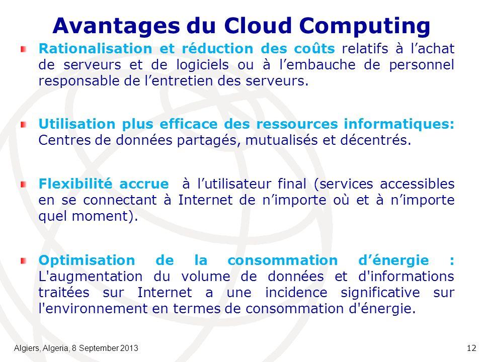 Avantages du Cloud Computing Rationalisation et réduction des coûts relatifs à lachat de serveurs et de logiciels ou à lembauche de personnel responsable de lentretien des serveurs.