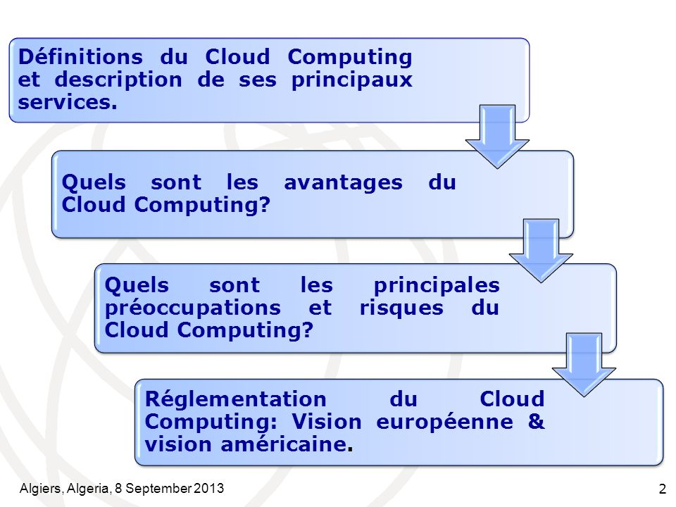 Algiers, Algeria, 8 September 2013 2 Définitions du Cloud Computing et description de ses principaux services. Quels sont les avantages du Cloud Compu