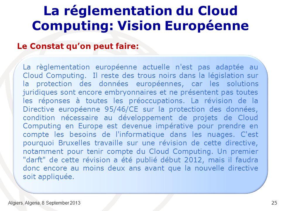 La réglementation du Cloud Computing: Vision Européenne Le Constat quon peut faire: Algiers, Algeria, 8 September 2013 25 La règlementation européenne actuelle n est pas adaptée au Cloud Computing.