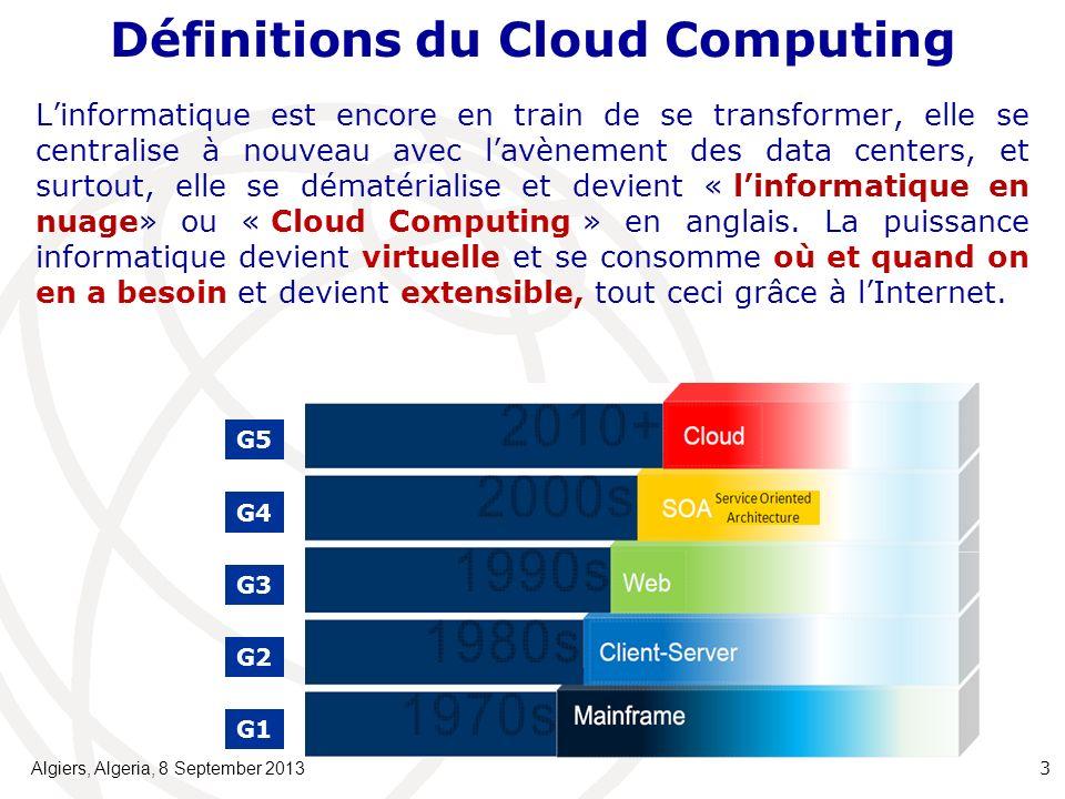 Définitions du Cloud Computing Linformatique est encore en train de se transformer, elle se centralise à nouveau avec lavènement des data centers, et surtout, elle se dématérialise et devient « linformatique en nuage» ou « Cloud Computing » en anglais.