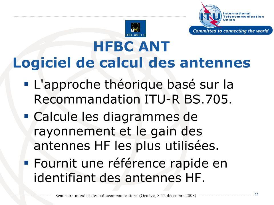 Séminaire mondial des radiocommunications (Genève, 8-12 décembre 2008) 11 HFBC ANT Logiciel de calcul des antennes L approche théorique basé sur la Recommandation ITU R BS.705.