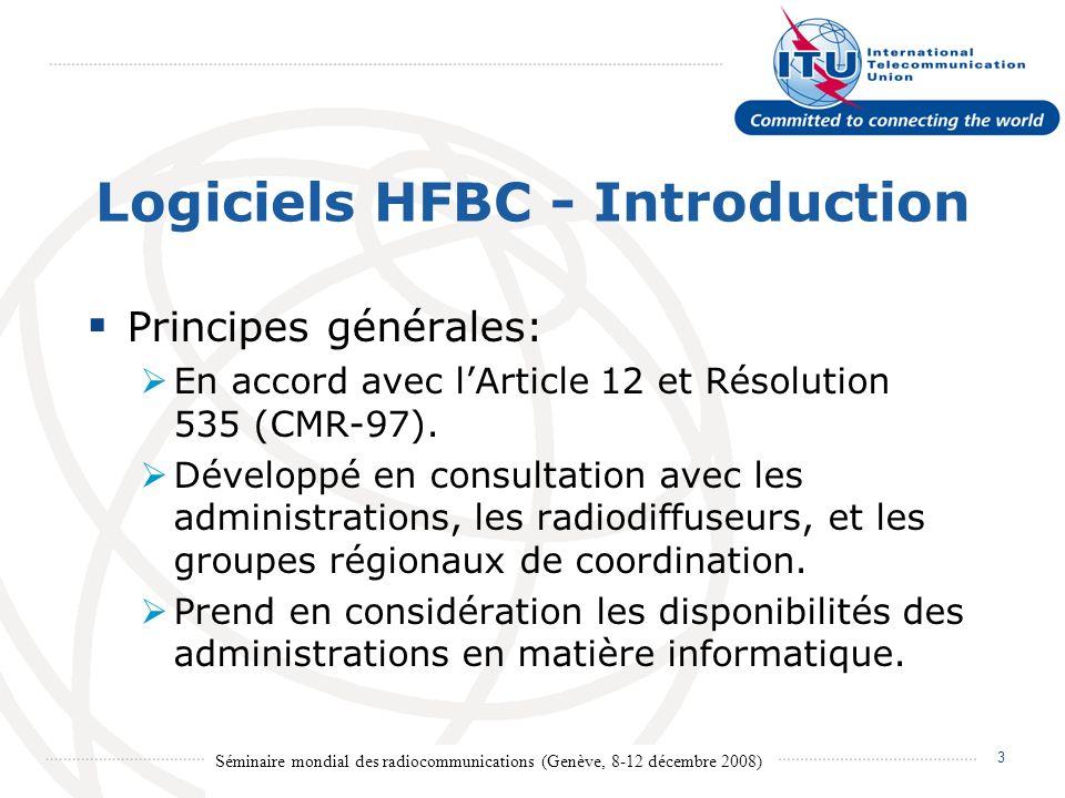 Séminaire mondial des radiocommunications (Genève, 8-12 décembre 2008) 4 Dispositifs principaux des modules HFBC REQ – Logiciel de saisie ITU HFBC – Logiciel de calcul HFBC VAL – Logiciel de validation HFBC ANT – Logiciel de calcul des antennes
