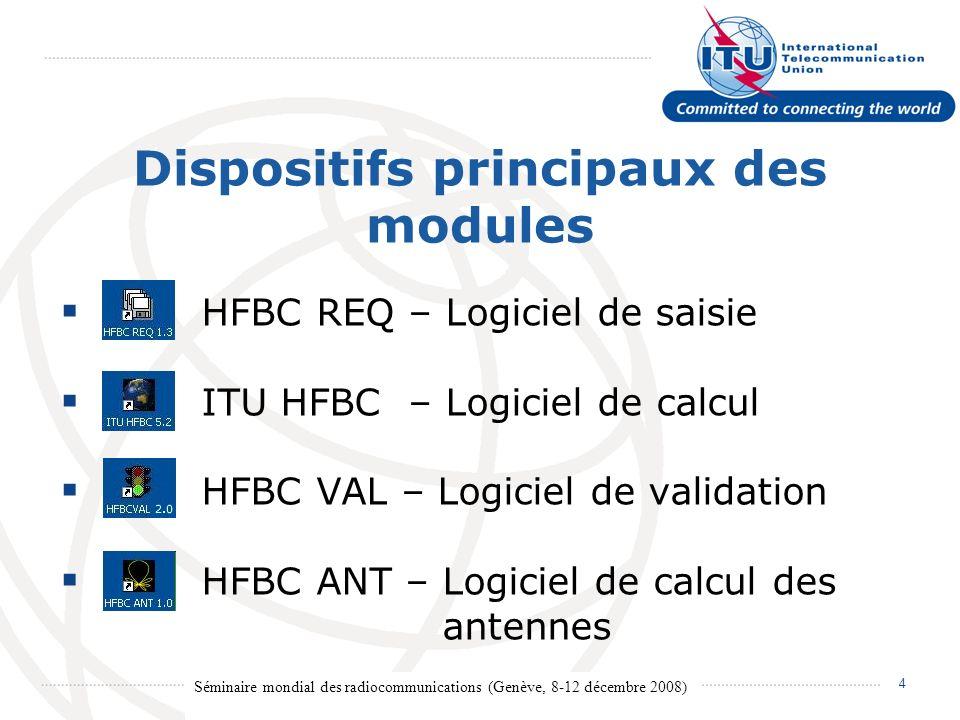 Séminaire mondial des radiocommunications (Genève, 8-12 décembre 2008) 5 HFBC REQ Logiciel de saisie Saisir les besoins HF.