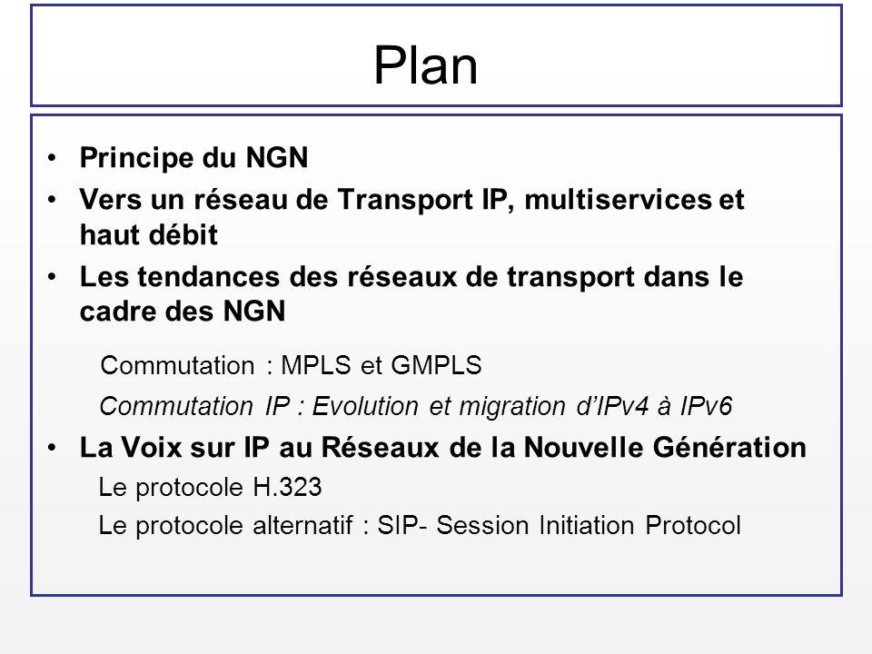 Plan Principe du NGN Vers un réseau de Transport IP, multiservices et haut débit Les tendances des réseaux de transport dans le cadre des NGN Commutat