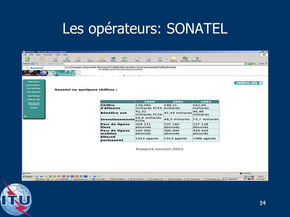 14 Les opérateurs: SONATEL