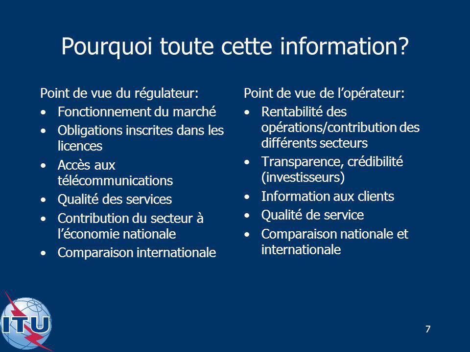7 Pourquoi toute cette information? Point de vue du régulateur: Fonctionnement du marché Obligations inscrites dans les licences Accès aux télécommuni