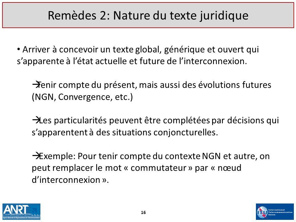 Remèdes 2: Nature du texte juridique Arriver à concevoir un texte global, générique et ouvert qui sapparente à létat actuelle et future de linterconne