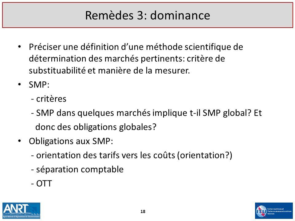 Remèdes 3: dominance Préciser une définition dune méthode scientifique de détermination des marchés pertinents: critère de substituabilité et manière