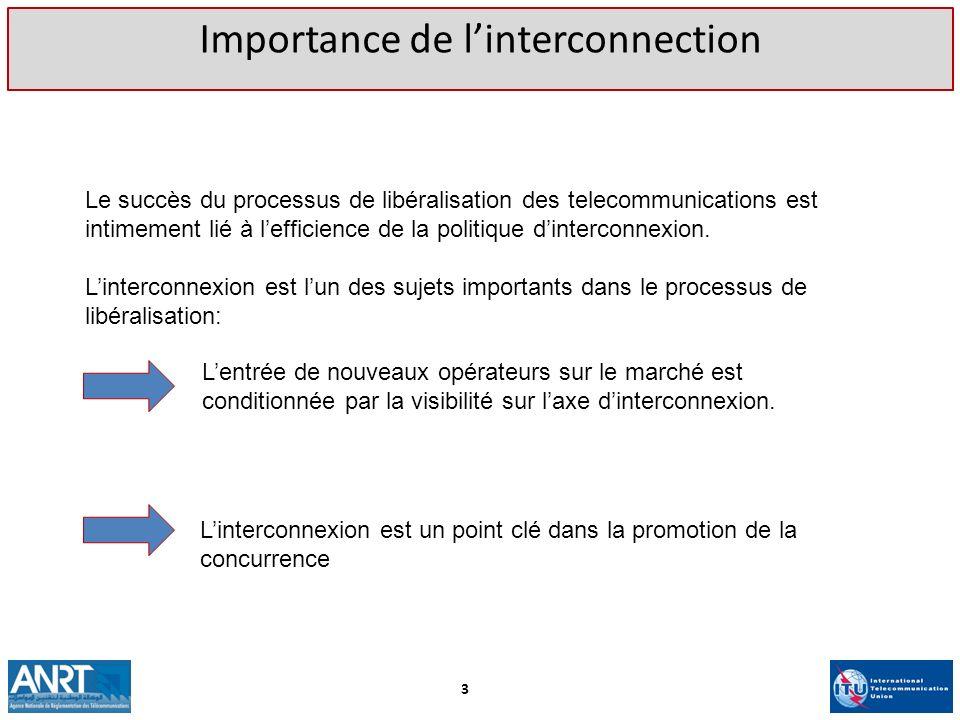Le succès du processus de libéralisation des telecommunications est intimement lié à lefficience de la politique dinterconnexion. Linterconnexion est