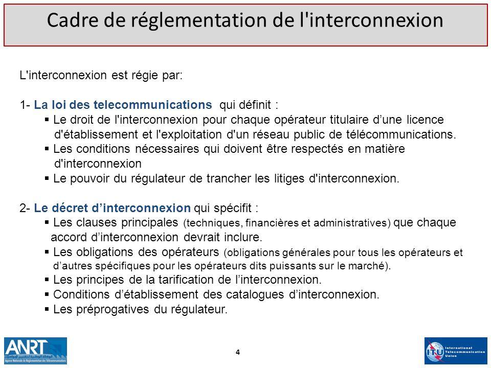 L'interconnexion est régie par: 1- La loi des telecommunications qui définit : Le droit de l'interconnexion pour chaque opérateur titulaire dune licen