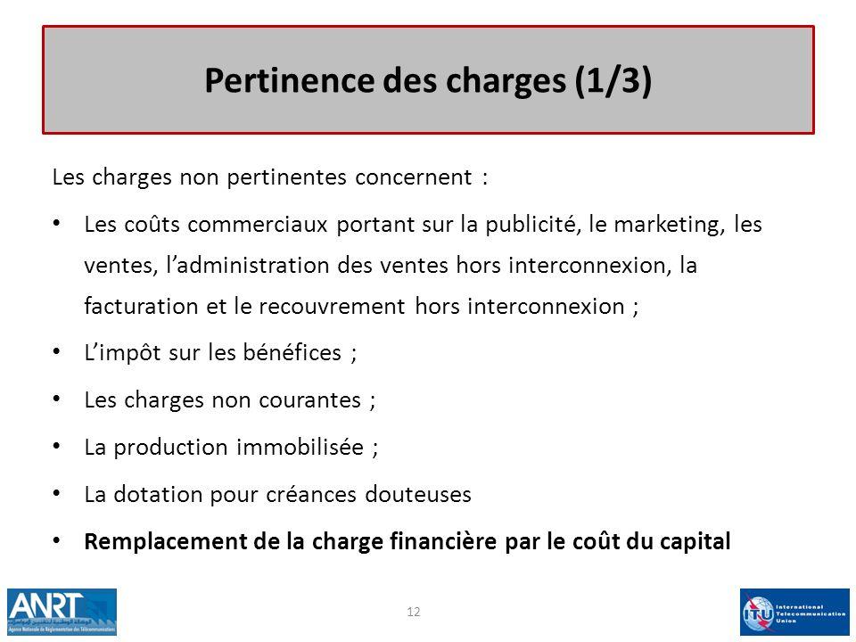 Pertinence des charges (1/3) Les charges non pertinentes concernent : Les coûts commerciaux portant sur la publicité, le marketing, les ventes, ladmin