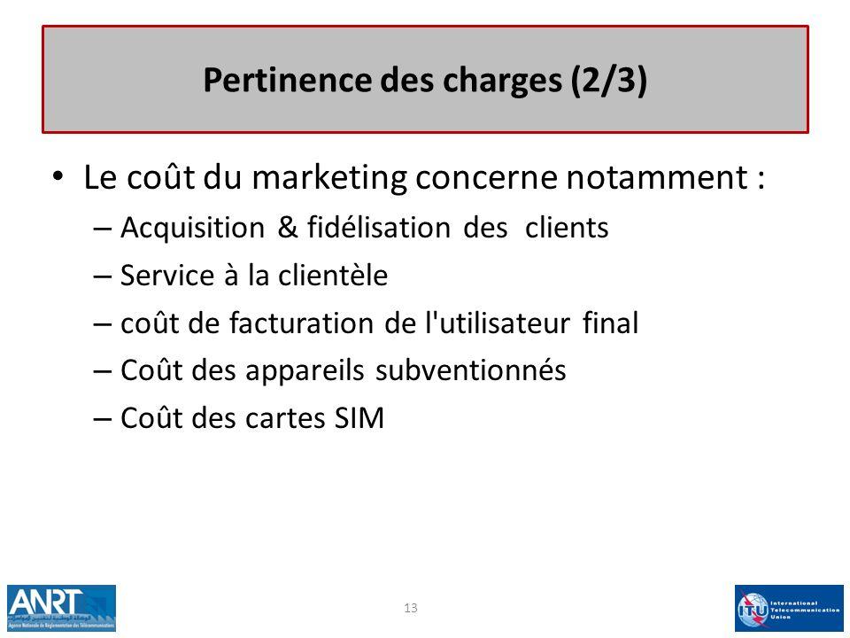 Pertinence des charges (2/3) Le coût du marketing concerne notamment : – Acquisition & fidélisation des clients – Service à la clientèle – coût de fac