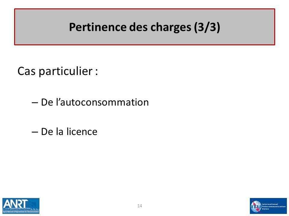 Pertinence des charges (3/3) Cas particulier : – De lautoconsommation – De la licence 14