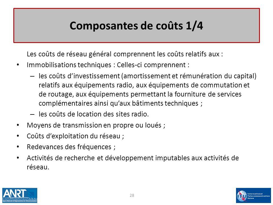 Composantes de coûts 1/4 Les coûts de réseau général comprennent les coûts relatifs aux : Immobilisations techniques : Celles-ci comprennent : – les c