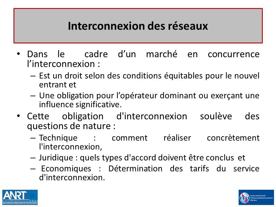 Interconnexion des réseaux Dans le cadre dun marché en concurrence linterconnexion : – Est un droit selon des conditions équitables pour le nouvel ent