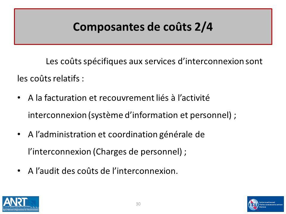 Composantes de coûts 2/4 Les coûts spécifiques aux services dinterconnexion sont les coûts relatifs : A la facturation et recouvrement liés à lactivit