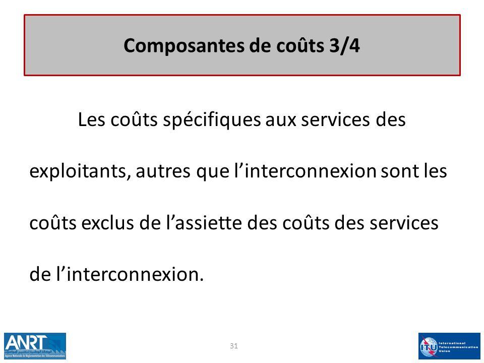 Composantes de coûts 3/4 Les coûts spécifiques aux services des exploitants, autres que linterconnexion sont les coûts exclus de lassiette des coûts d