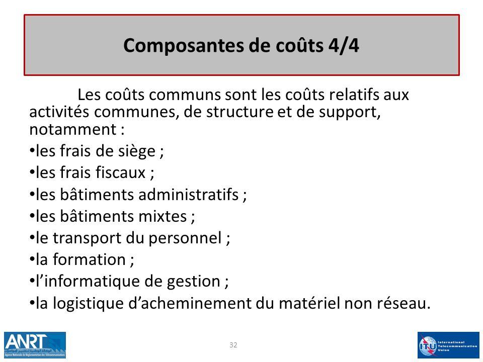 Composantes de coûts 4/4 Les coûts communs sont les coûts relatifs aux activités communes, de structure et de support, notamment : les frais de siège