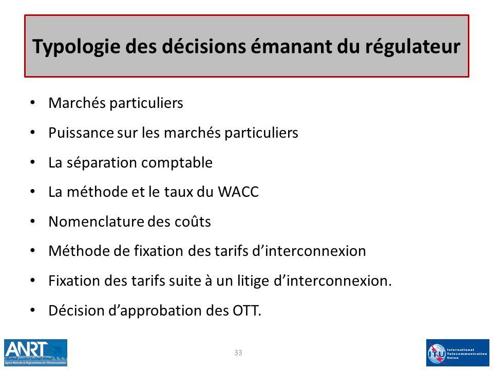 Typologie des décisions émanant du régulateur Marchés particuliers Puissance sur les marchés particuliers La séparation comptable La méthode et le tau