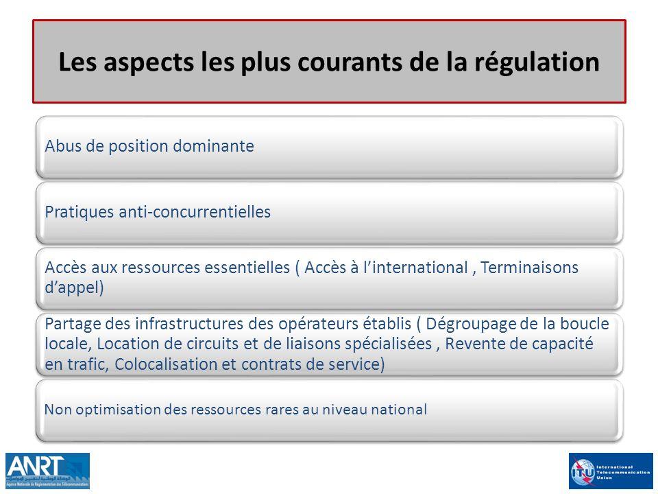 Les aspects les plus courants de la régulation Abus de position dominantePratiques anti-concurrentielles Accès aux ressources essentielles ( Accès à l